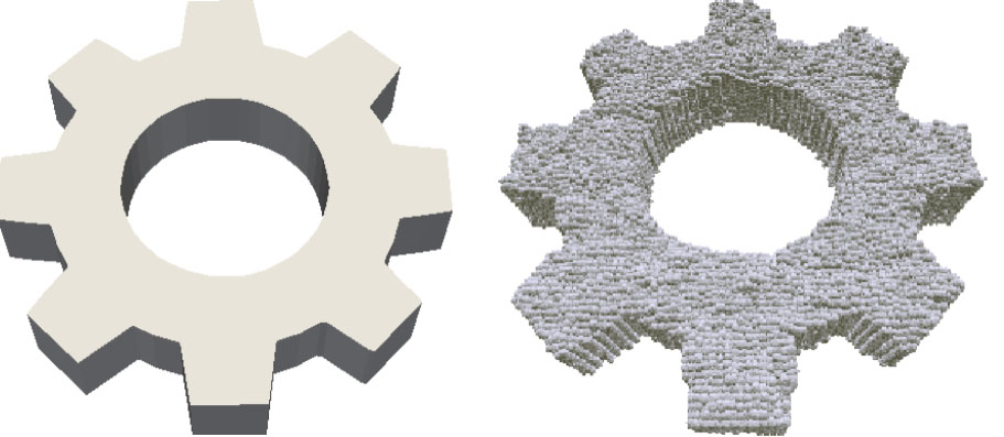 Figure 3: The as-designed shape (left) and its as-manufactured counterpart (right) computed in FIELDS by simulating an additive manufacturing process.